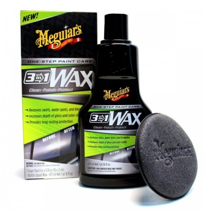 Meguiar's® 3-in-1 Wax – Multiple Steps, One Easy to Use Wax - G191016, 16 oz