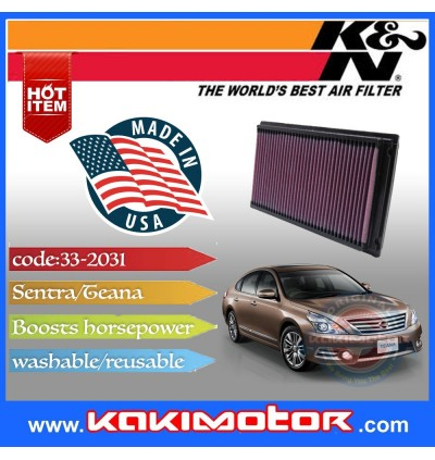 K&N 33-2031-2 Air Filter - Nissan Sentra / Teana