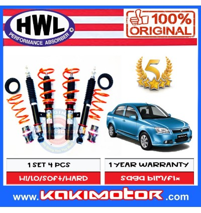 HWL ST-1 Adjustable Coilover Suspension - Proton Saga BLM / FLX